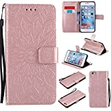 iPhone 6 / 6S Wallet Case [Not fit iphone 6 plus],Sun Pattern Embossed PU Leather Magnetic Flip Cover Card Holders & Hand Strap Wallet Purse Case for iPhone 6 / 6S [4.7 Inch] Rose Gold
