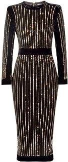 UONBOX Women's Long Sleeve Rhinestone Embellished Evening Cocktail Midi Bandage Dress