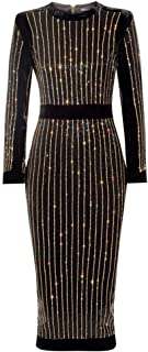 Women's Long Sleeve Rhinestone Embellished Evening Cocktail Midi Bandage Dress