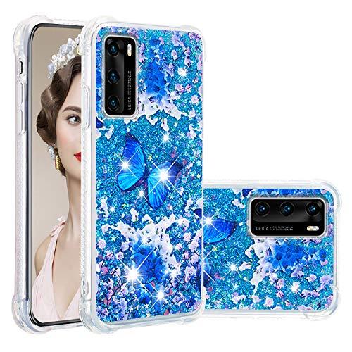 Misstars Glitzer Flüssig Hülle für Huawei P40, Bling Sparkle Treibsand Handyhülle Transparent mit Muster Blau Schmetterling Design Weich TPU Silikon Stoßfest Schutzhülle