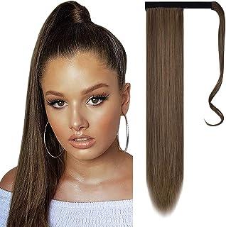 comprar comparacion FESHFEN Cola de Caballo Extensiones Postizos de pelo fibras sintéticas de cabello pelo liso largo 61cm, 125g