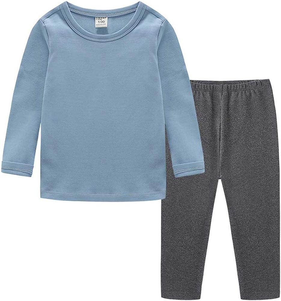 DCUTERQ Boys Basic Thermal Underwear Set 2pcs Long Johns Kids Cotton Soft Pajamas Snug Fit Sleepwears Pjs Sets Solid Color