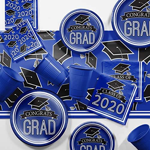 Graduation Class of 2020 School Spirit Blue Party Supplies Kit, Serves 18