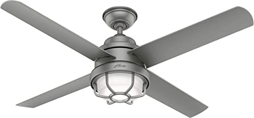 """new arrival Hunter Searow Indoor / Outdoor Ceiling online Fan with LED Light and Wall Control, new arrival 54"""", Matte Silver online sale"""