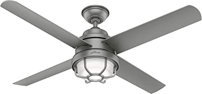 """Hunter Searow Indoor / Outdoor Ceiling Fan with LED Light and Wall Control, 54"""", Matte Silver"""