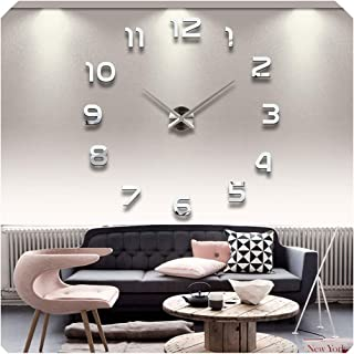 Wall Clocks Horloge 3D DIY Acrylic Mirror Stickers Home Decoration Living Room Quartz Needle,Silver,37Inch