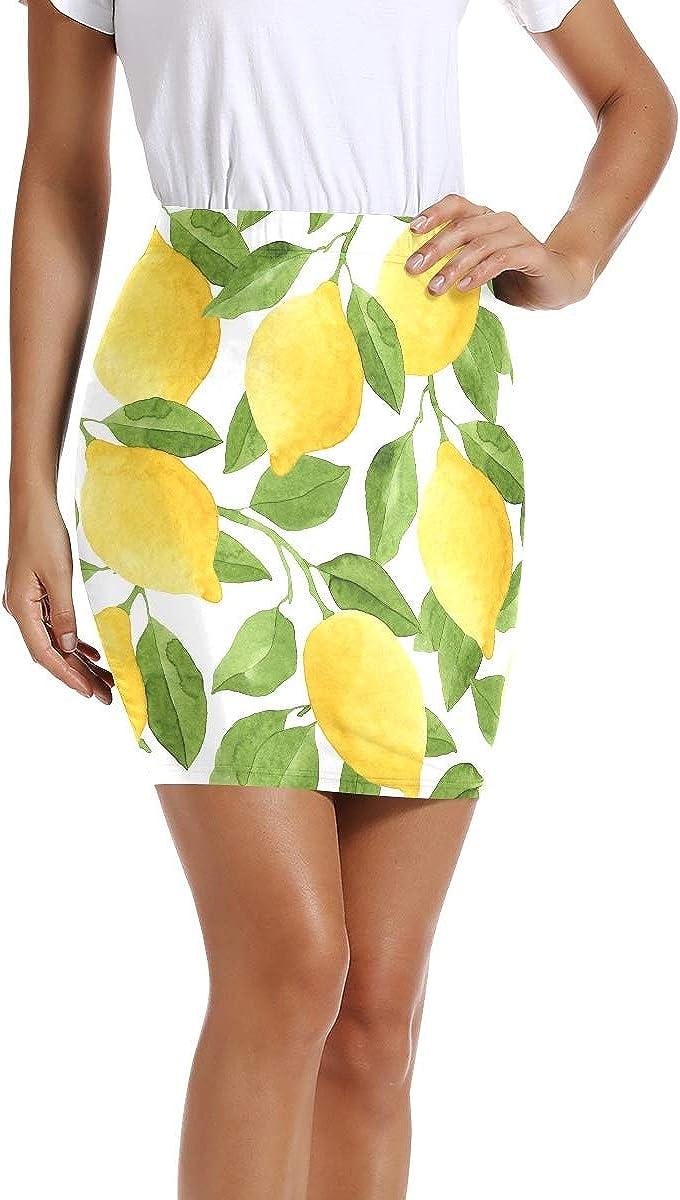 ALAZA Yellow Lemon Fruit Leaf Women Short Skirts Mini Pencil Waist Above Knee Bodycon Skirt