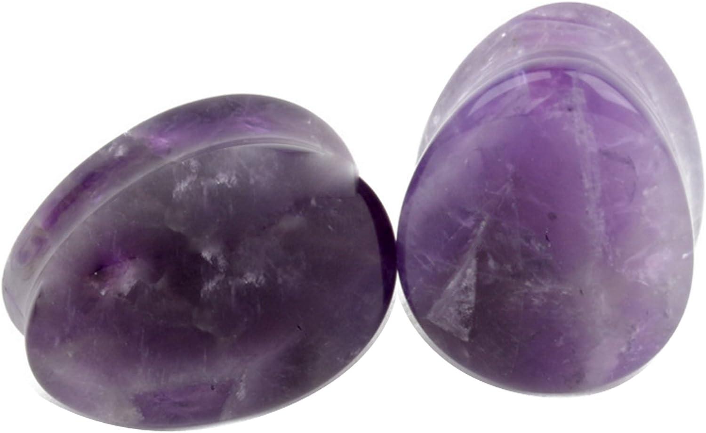 Yodeyhoo 2PCS Amethyst Organic Stone Teardrop Tunnels Plugs Ear Gauges Piercing 2g-5/8