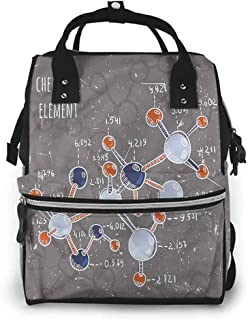Diaper Backpack Zippered Pocket, Grunge Formula Science Graphic, Large Capacity, Waterproof and Stylish