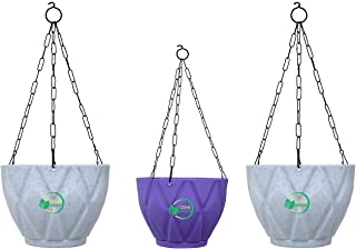 OSHIGREENS Hanging Flower POTS for Home Decoration with Hanging Chain | Hanging Flower POTS with Base Tray Pack of 3