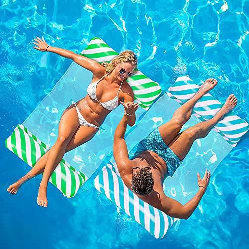 YOGINGO Aufblasbare Wasserhängematte, 4 in 1 Luftmatratze Pool, Tragbarer Schwimmstuhl, Aufblasbare Sessel Liegestühle Pool Spielzeug für Schwimmbäder, Strände(Grün)