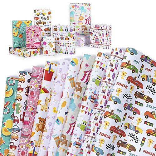 Wodasi Geschenkpapier, 10 Stücke Geschenkpapier Geburtstag Kinder, Geschenkpapier Weihnachten, Geschenkpapier Kinder Niedlicher Tierentwurf Für Geburtstag, Party, Babyparty, 74 x 52cm