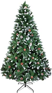 Huuiy Christmas Decorations Artificial Christmas Tree 7FT 1350 Branch Flocking Spray White Tree Plus Pine Cone Pre-Lit Easy Assembly for Party Decoration