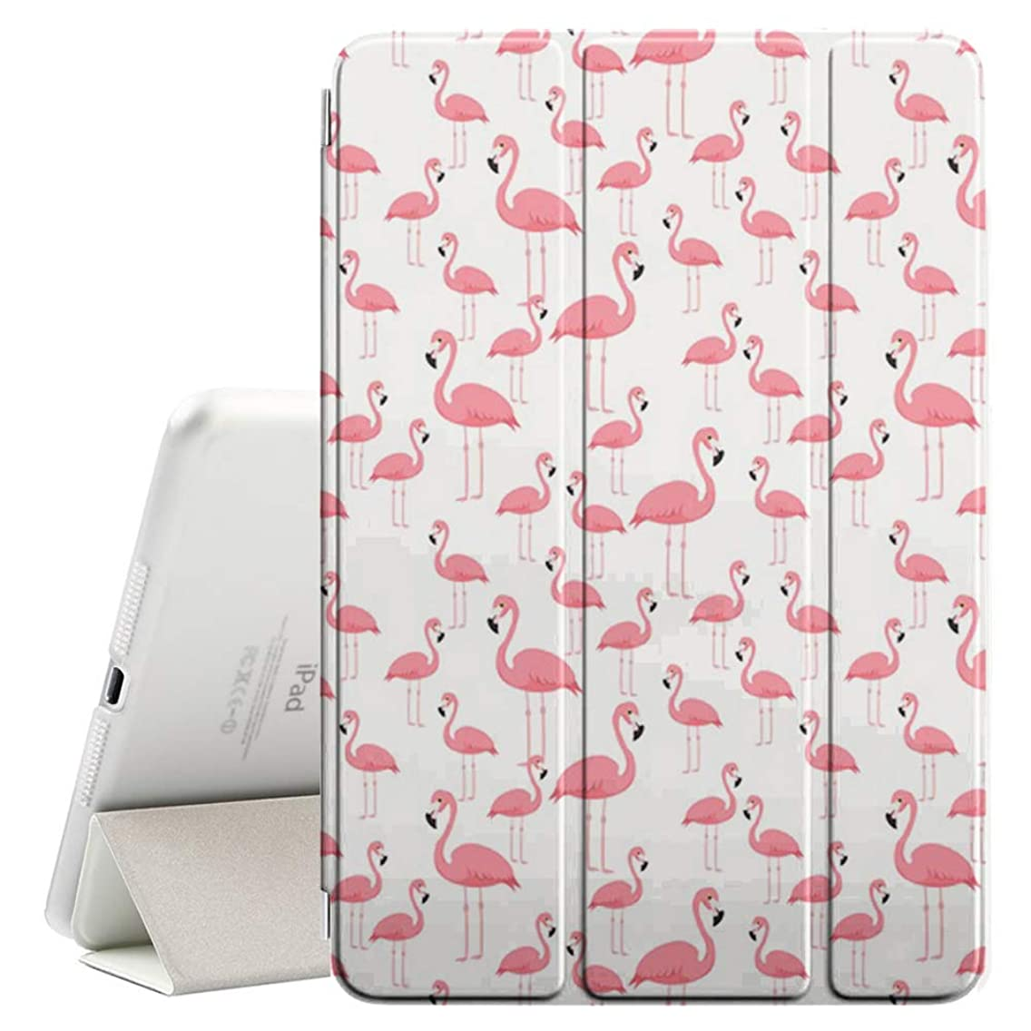 Compatible with Apple iPad Air 2 (2nd Generation) - Leather Smart Cover + Hard Back Case with Sleep/Wake Function (Pink Flamingo Beach)