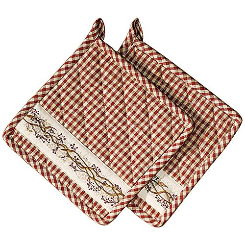 The Country House Collection Burgundy Berry Vine on Check Plaid 8 x 8 Inch All Cotton Applique Pot Holder Set of 2