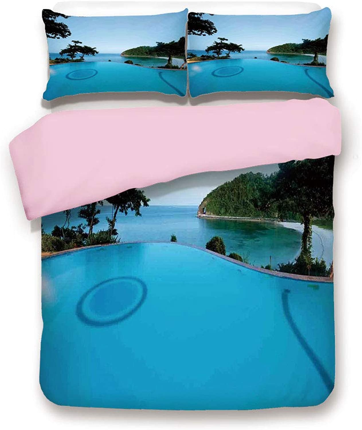 Pink Duvet Cover Set,Twin Size,Pool View at Sunset Beach in Seacoast Ocean Heavenly Vibrant colors Adventure Photo,Decorative 3 Piece Bedding Set with 2 Pillow Sham,Best Gift For Girls Women,Turquoise