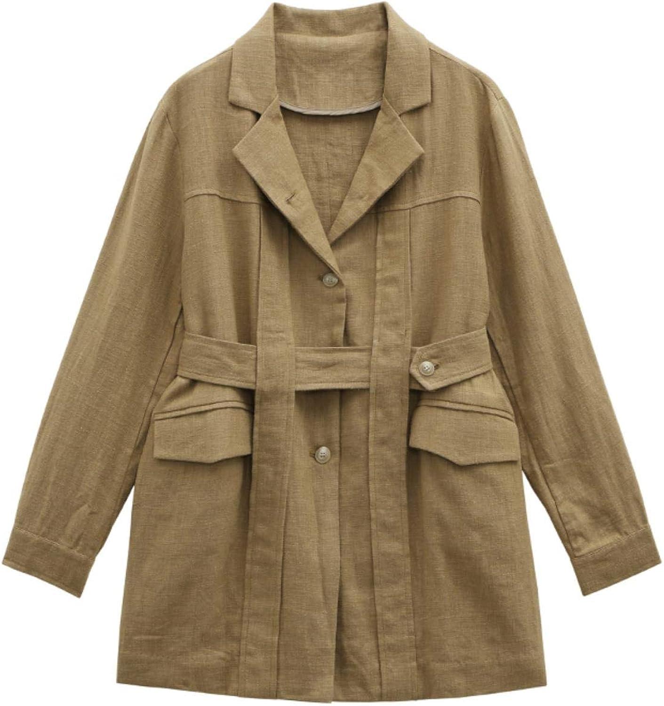 BXSkXOta Women's Lapel Long Sleeve Linen Jacket