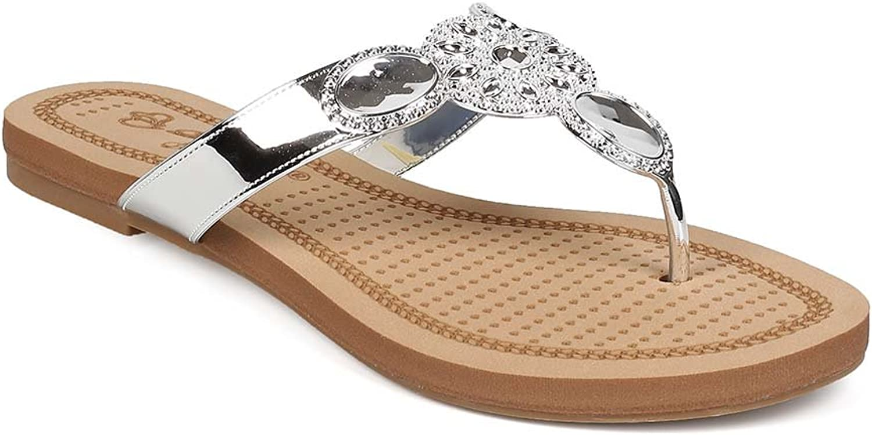 DBDK Women Metallic Embossed Boho Slip On Thong Sandal EG60 - Silver