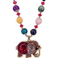 QTMY Diamond Beaded Boho Pendant Long Necklace Jewelry for Women (Elephant) (Elephant)