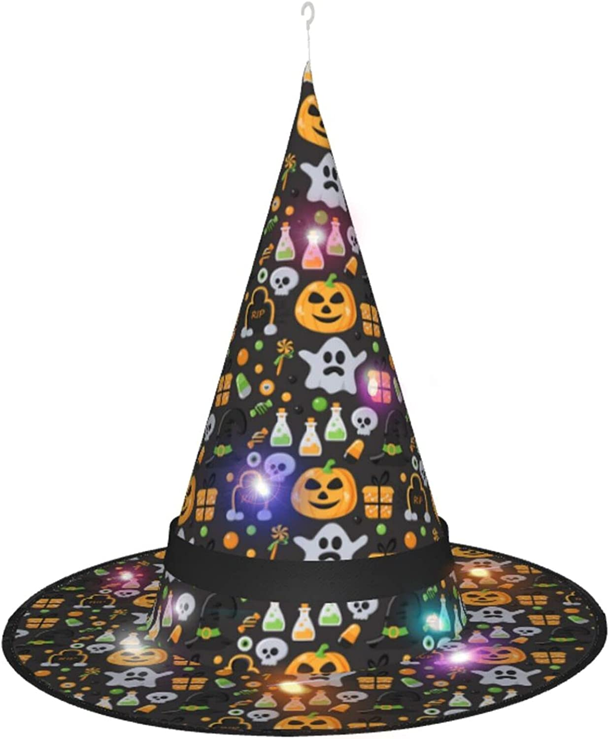 KQLH New sales Halloween Witch Arlington Mall Hat With Costume Hallo Light Accessory For