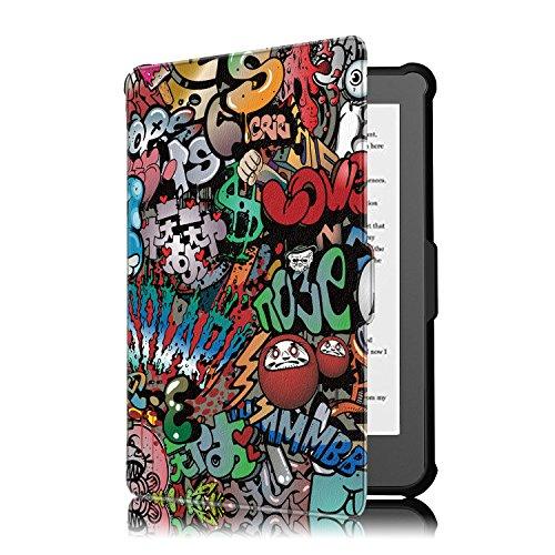 Kobo Clara HD Cover - Folio Custodia Ultra Sottile e Leggero con Coperture Funzione Auto Sveglia / Sonno per Kobo Clara HD Touchscreen E-Book Readers (15.2 cm (6') Modello 2018, Graffiti