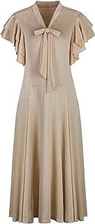 Vijiv Women's Vintage 1920s V Neck Long Bias Cut Sleeveless with Flutter Sleeves Bowknot Flapper Dress