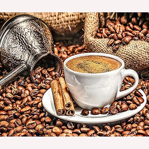 CHUANYI Erwachsenenmalerei Hauptdekoration Hintergrundbild,Kaffeetasse Schokolade 40 x 50 cm Holzrahmen, DIY Ölgemälde Anfänger Kinder Erwachsene Geburtstagsgeschenk
