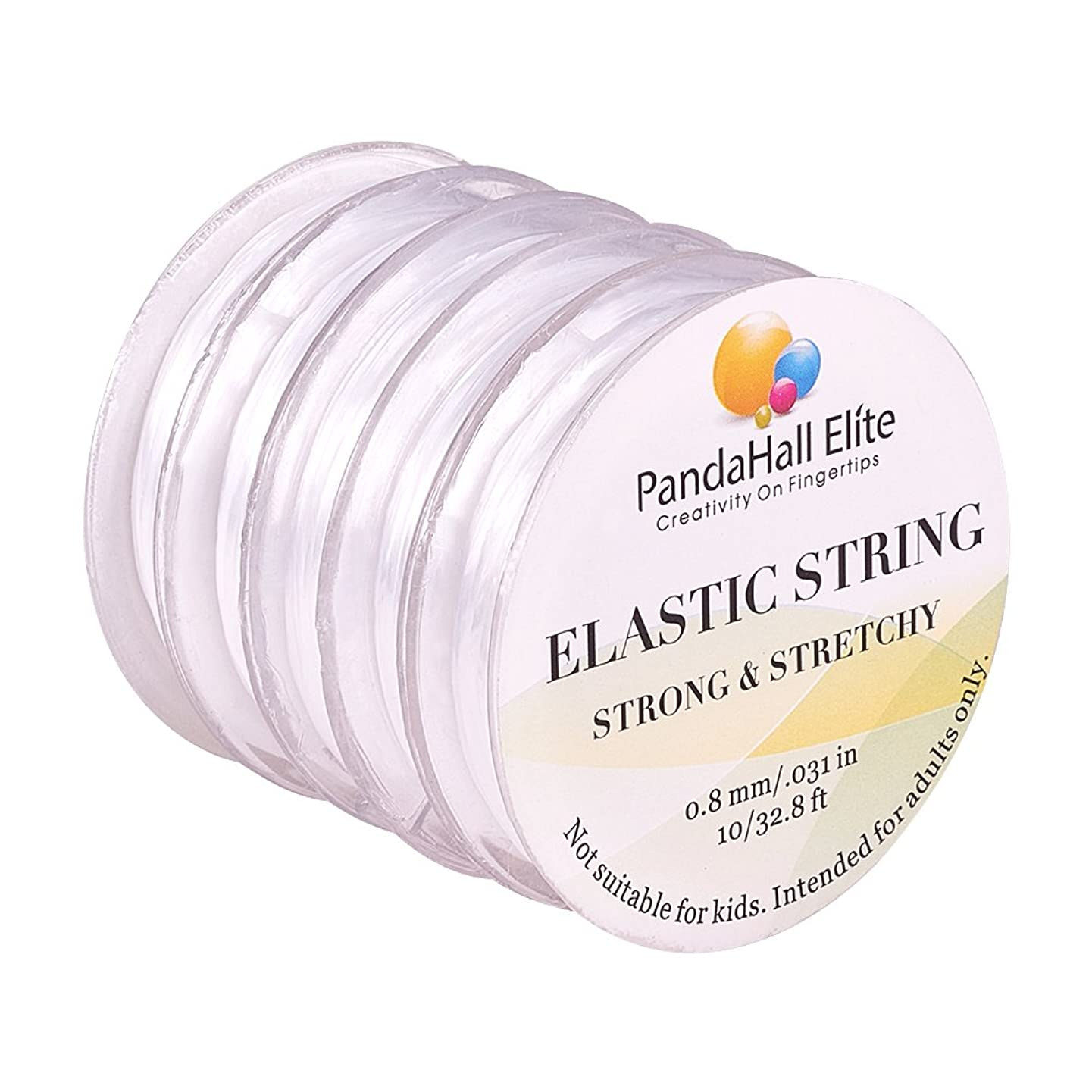 PandaHall Elite 0.8mm Elastic Stretch Polyester Threads Jewelry Bracelet String Cords 10m 5 Rolls Assortment Transparent-1
