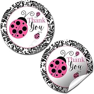 Pink Polka Dot Damask Ladybug Themed Thank You Sticker Labels, 40 2