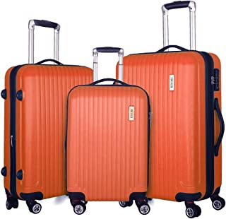 Fochier 3 Piece Luggage Sets Expandable Lightweight Spinner Suitcase with TSA Lock, Orange-1 (Orange) - FC0818-5-R1