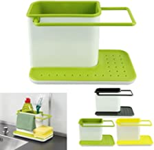 Inditradition 3 in 1 Kitchen Sink Organizer (for Dishwasher Liquid, Brush, Cloth, Soap, Sponge), Plastic