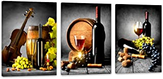 HUADAOART Wall Art for Kitchen Canvas Artwork Fruits Grapes Wine Bottle Foods Canvas Painting - 3 Pieces Canvas Art Contemporary Nature Pictures for Dining Room Wall Decor Home Decoration
