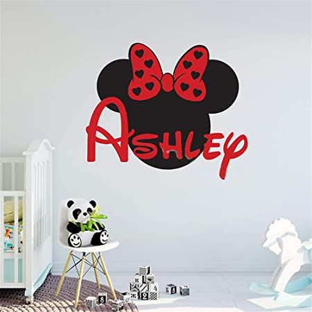 Minnie Mouse Personalized Custom Name Wall Decals Wall Design Stickers Vinyl Removable Children Kids Rooms Girls Boys Baby Nursery Cartoon Size 14x25 inch