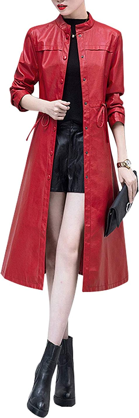 Omoone Women's PU Leather Midi Long Button Up Fleece Lined Trench Coat Jacket