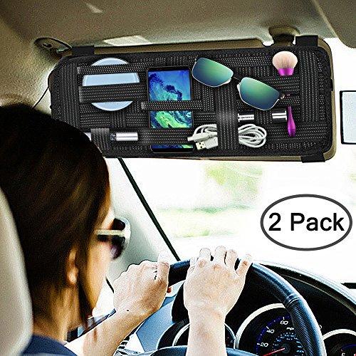 SourceTon 2 Packs Car Sun Visor Organizer, Car Visor Storage Anti-Slip Elastic Woven Board for Sunglass Holder Parking Fuel Card Digital Accessories