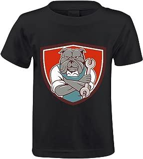 FORERIC Bulldog Mechanic Arms Crossed Cartoon T Shirts For Kids Black