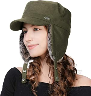 Mens Womens Winter Wool Baseball Cap with Ear Flaps Faux Fur Earflap Trapper Hunting Hat for Cold Weather