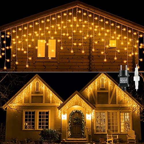 Tenda Luminosa Esterno 10M 400LED, GlobaLink Catena Luminosa Esterno IP44 Impermeabile, Luci Natale Esterno Luci Cascata 8 Modalità Luce per Natale, Gronda, Patio, Giardino, Matrimonio con 25 Flange