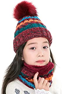 40046373a7f Jastore 2pcs Baby Girls Boys Winter Hat Thick Scarf Set Toddler Knit Warm  Knit Cap +