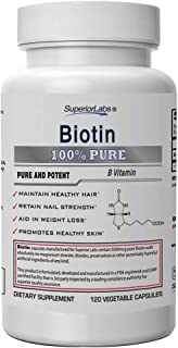 Superior Labs – Best Natural Biotin NonGMO Supplement – for Luscious Longer Hair and Lashes – Stronger Nails – Healthy Ski...