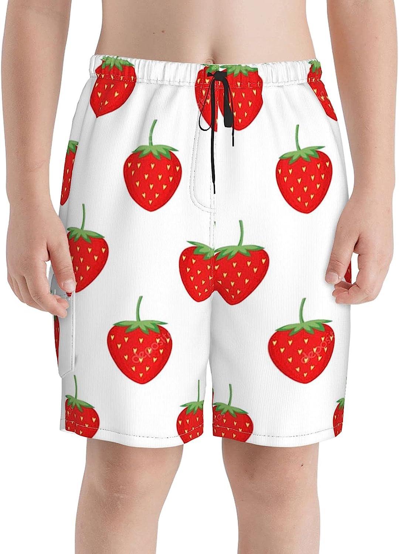 Red Max 85% OFF Strawberries Milwaukee Mall Boys Swim Trunks Teens Boardshorts Beach