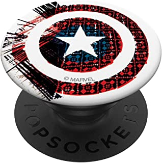 Marvel Captain America Shield Glitch Digital Pattern Pop PopSockets Support et Grip pour Smartphones et Tablettes