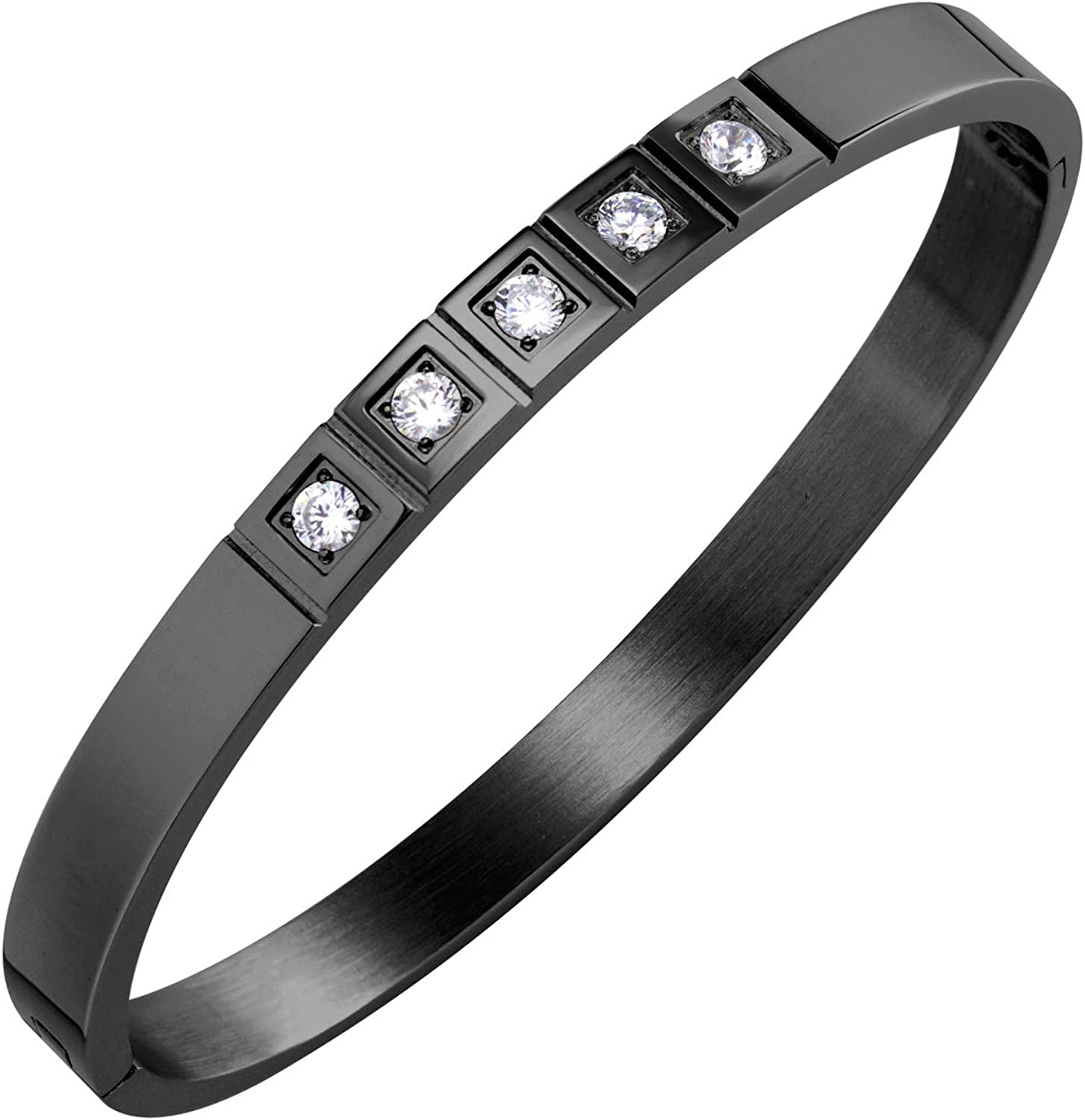 555Jewelry Stainless Steel CZ Cuff Hinged Bangle Bracelet for Men & Women