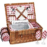 Best Picnic Baskets - Natural Wicker Picnic Hamper Set with Large Insulated Review