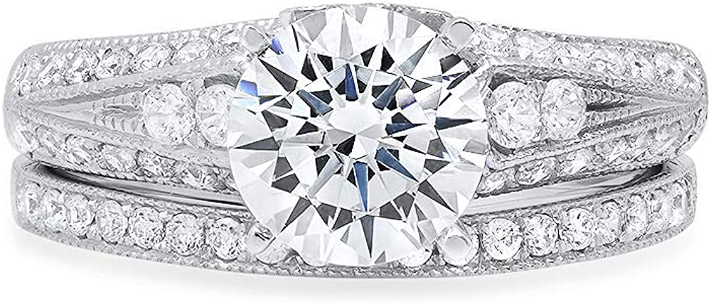 2.04ct Round Cut Pave Solitaire with Accent VVS1 Ideal White Clear Simulated Diamond CZ Engagement Promise Designer Anniversary Wedding Bridal ring band set 14k White Gold
