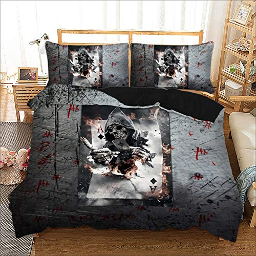 PATATINO MIO Porker Bedding Set Twin Joker Playing Cards Black/Gray Printed Teens Duvet Cover Set for Adults Boys Girls 3 Pieces with 1 Duvet Cover 2 Pillow Sham No Comforter
