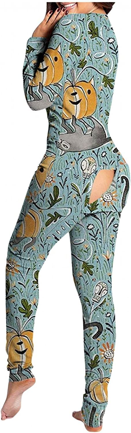 ORT Jumpsuits for Women 2021, Women's Jumpsuit Long Sleeve Pajamas SweaterJumpsuit Pullover Button up Jumpsuit with Pocket