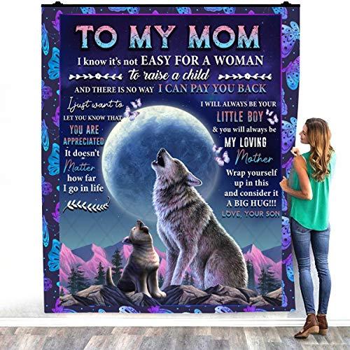 TeeShiny To My Mom I Know It's Not Easy For A Woman To raisa a Child Gift From Son Warm Bed Mantas – Decorar Dormitorios Hogar Acogedora Manta de felpa (127 x 152 cm)