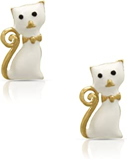 Jewelry for Girl's - White Cat Stud Earrings - 18k Gold Plated with Enamel - By Lily Nily