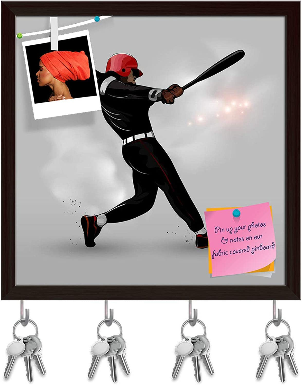 Artzfolio Baseball Player Hitting Ball Key Holder Hooks   Notice Pin Board   Dark Brown Frame 20 X 20Inch
